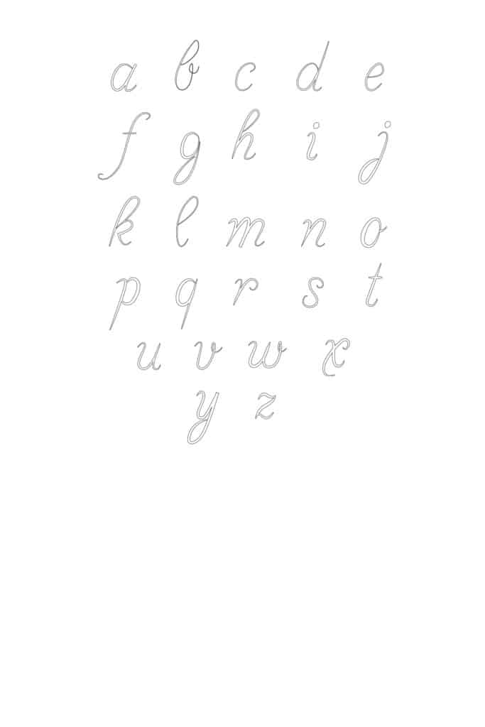 free printable calligraphy lowercase letters set