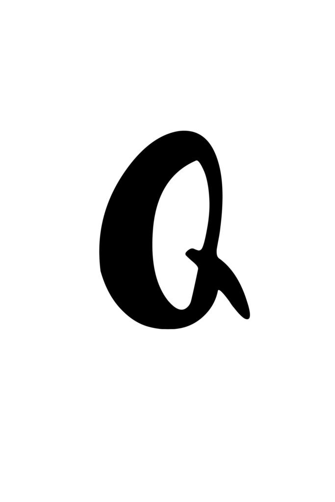 free printable capital modern calligraphy letters modern calligraphy Q