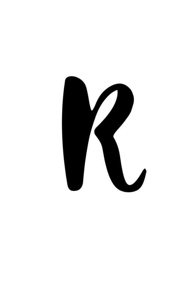 free printable capital modern calligraphy letters modern calligraphy R