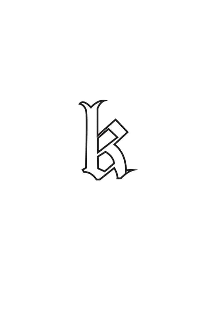free printable gothic calligraphy lowercase letters gothic calligraphy lowercase K