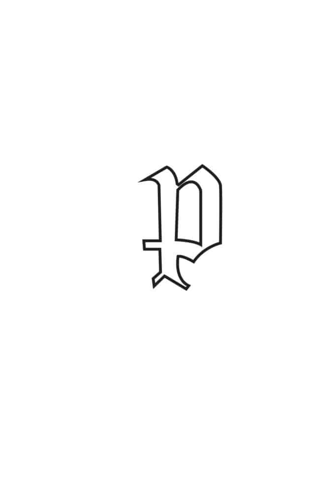 free printable gothic calligraphy lowercase letters gothic calligraphy lowercase P