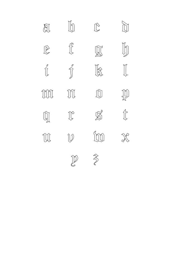 free printable gothic calligraphy lowercase letters set