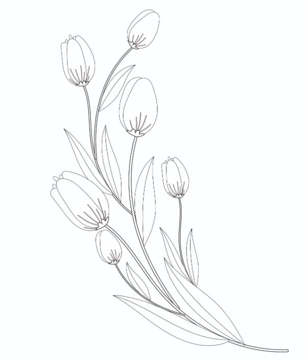 This free tulip flower coloring page to print is so realistic and detailed that you can almost smell the flowers!