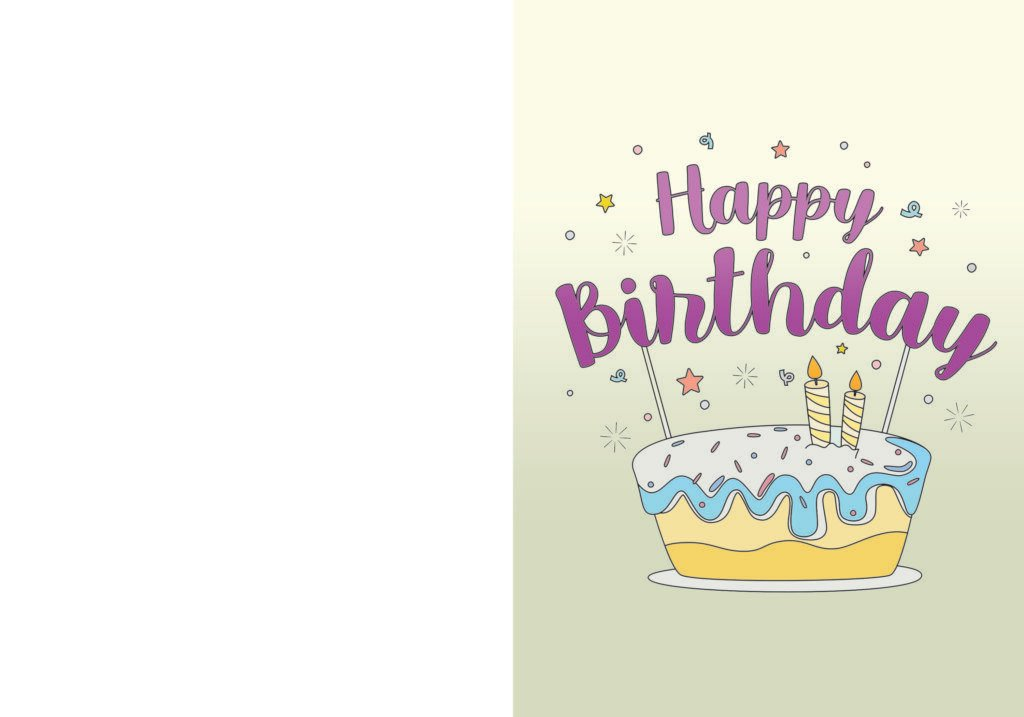 Simple yet sweet, this happy birthday card printable featuring a cake looks good enough to eat!