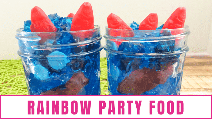 Jell-O candy jars make cute and delicious rainbow birthday party food ideas