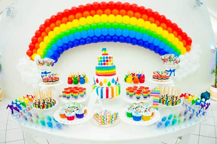 There are many frugal and easy rainbow birthday party ideas such as making a rainbow from balloons.