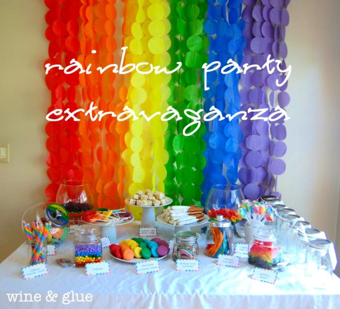 Coming up with rainbow theme party ideas is not hard; just look for multi-colored foods, candies, and rainbow party favors.