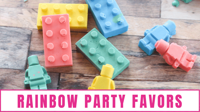 LEGO bath crayons make great rainbow party favors
