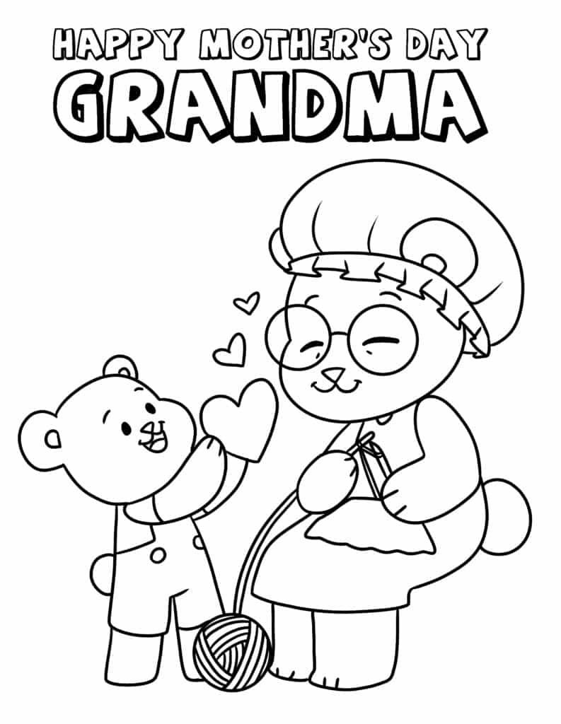 Grandma Mother's Day coloring pages like this one with Grandma and grandchild bears, are almost too cute to bear!