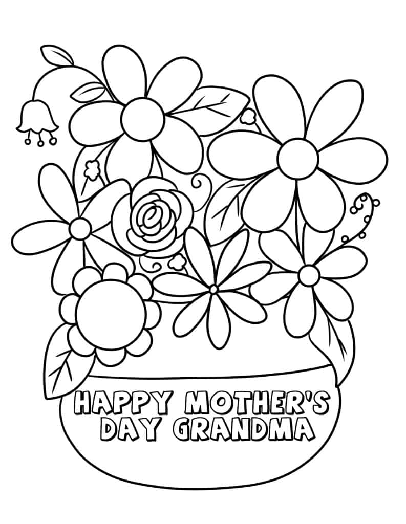 Give Grandma vibrant flowers that will never wilt with the first of the Happy Mother's Day Grandma coloring pages.