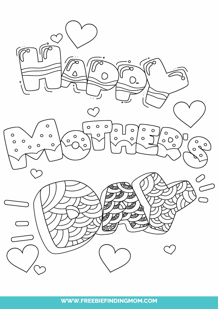 The last of the Mother's Day coloring pages free printables offers a lot of room for creativity with textured bubble letters.