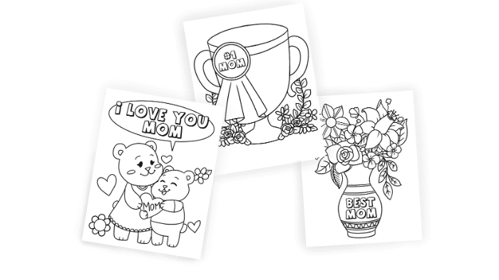 Turn these Mother's Day coloring pages free printables into a thoughtful Mother's Day cards by writing a sweet message on the back.