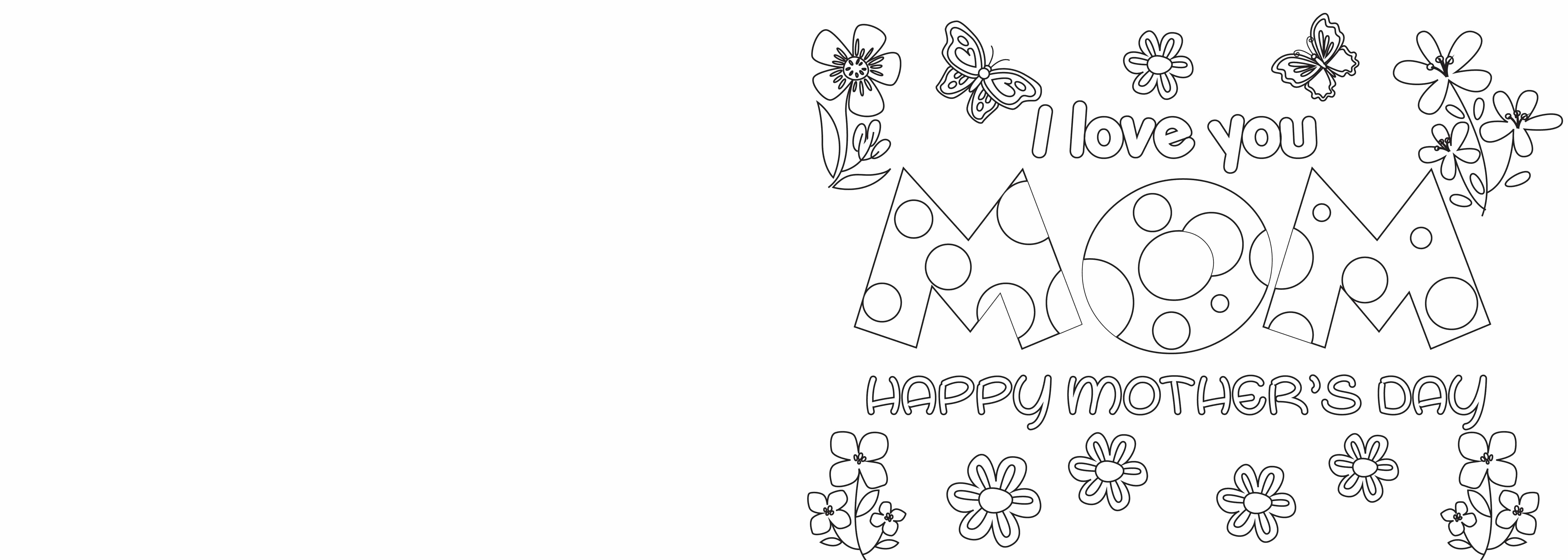 These Mother's Day coloring cards are filled with beautiful flowers and butterflies. This whimsical design is perfect for any mom.