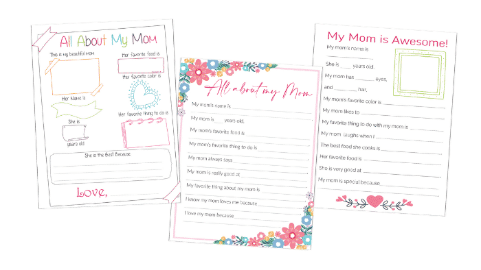 No matter what age the kids are if they fill out one of these free all about my mom printables it will be a Mother's Day gift any mom will treasure.