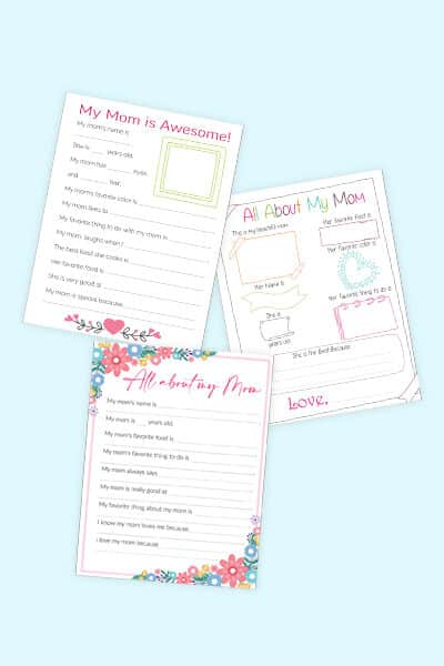 free all about my mom printables