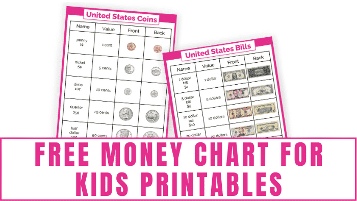 These free money chart for kids printables of US coins and US bills will help your kids learn the name and value of US bills and coins, how to write currency, and what United States money looks like.