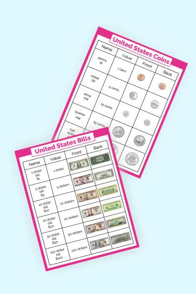 free money chart for kids printables