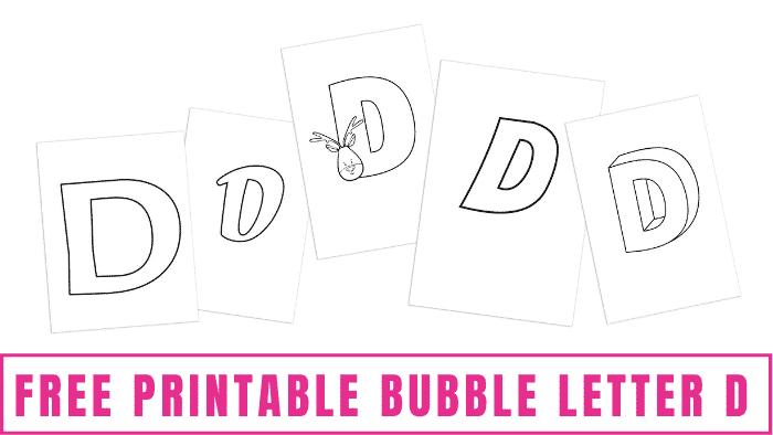 free printable bubble letter D