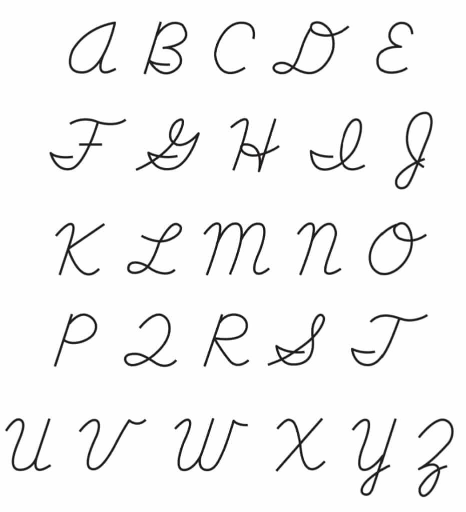 free printable cursive capital letters set
