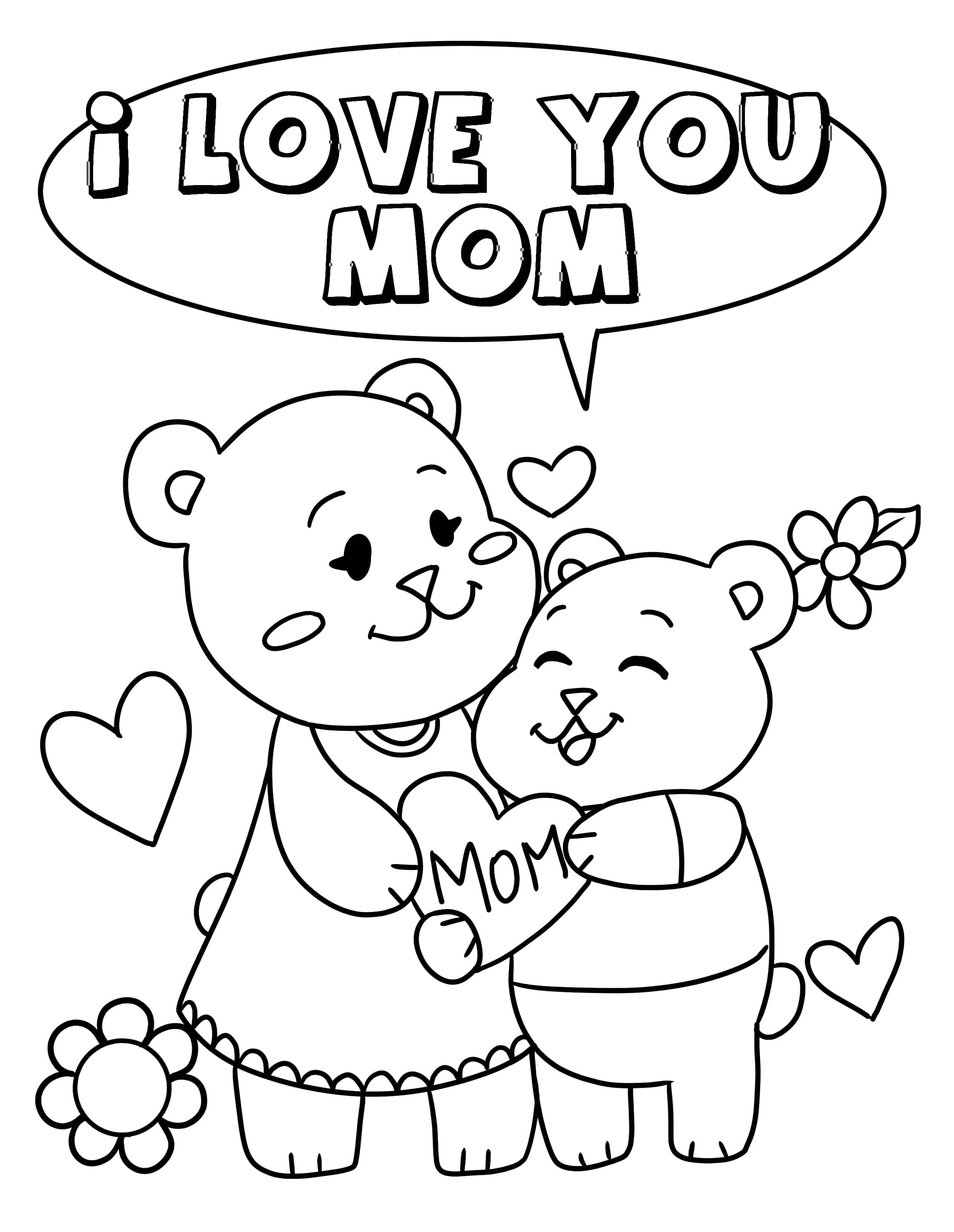 Tell mom just how much you love her with this free printable Happy Mother's Day coloring pages featuring totally huggable teddy bears.