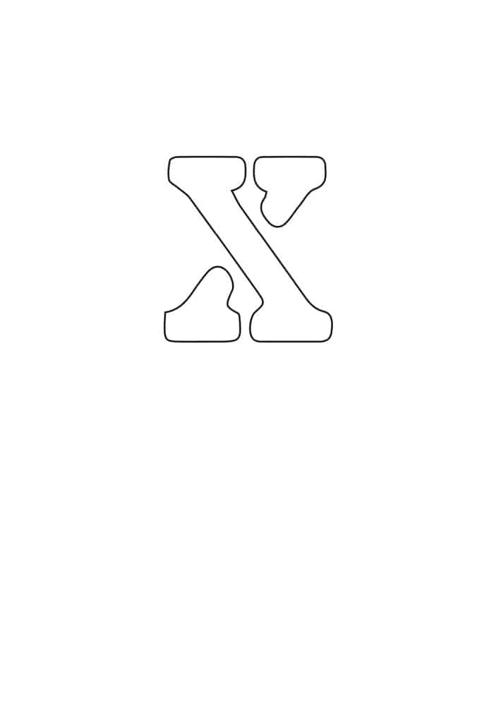 free printable letter stencils lowercase X stencil