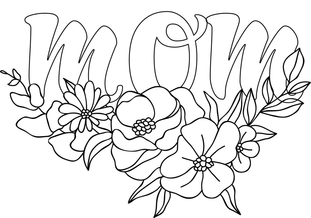 Give Mom the gift of flowers this year with this free printable Mom in bubble letters floral theme