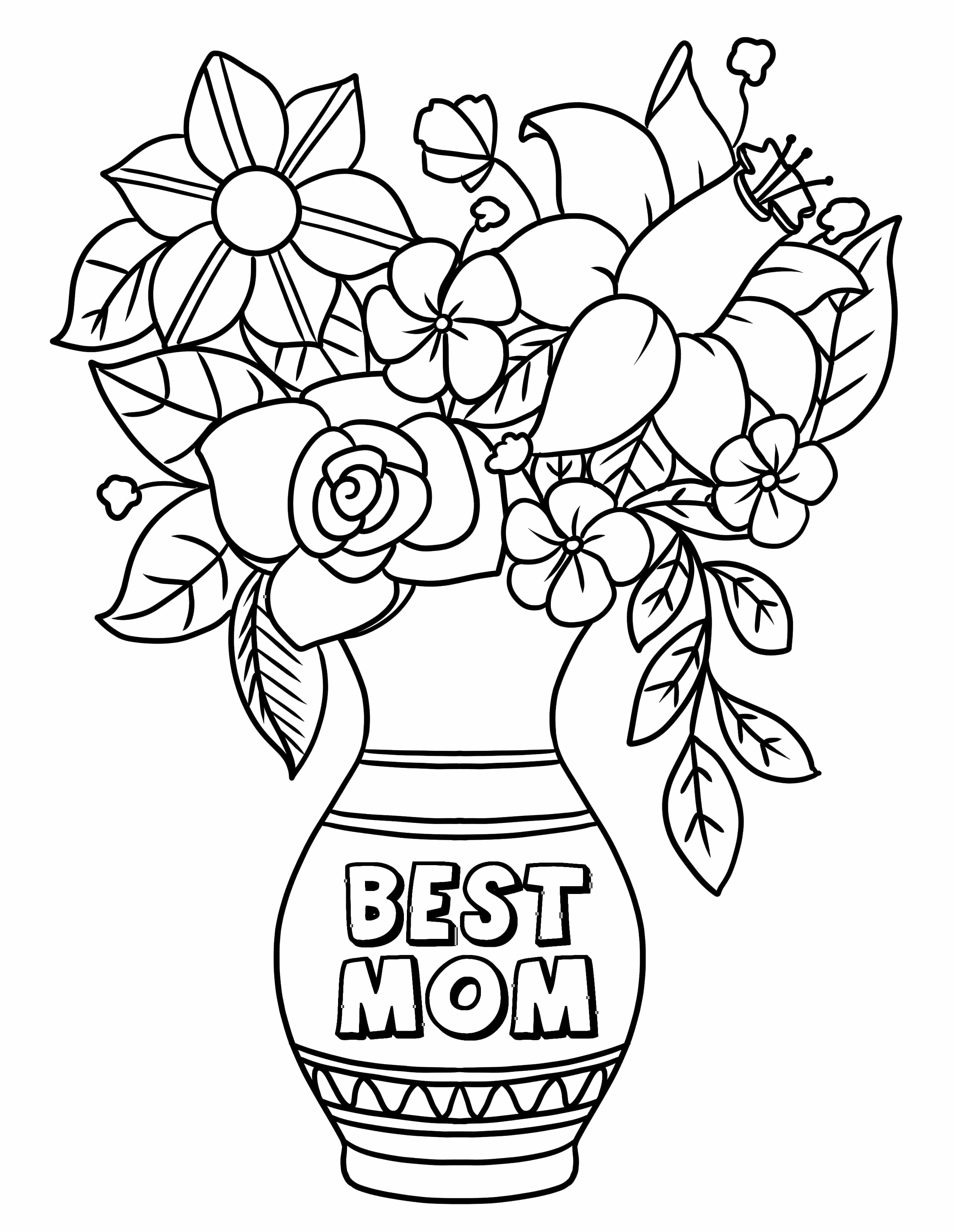 The first of the free printable Mother's Day coloring pages allows you to give mom flowers that'll never wilt!