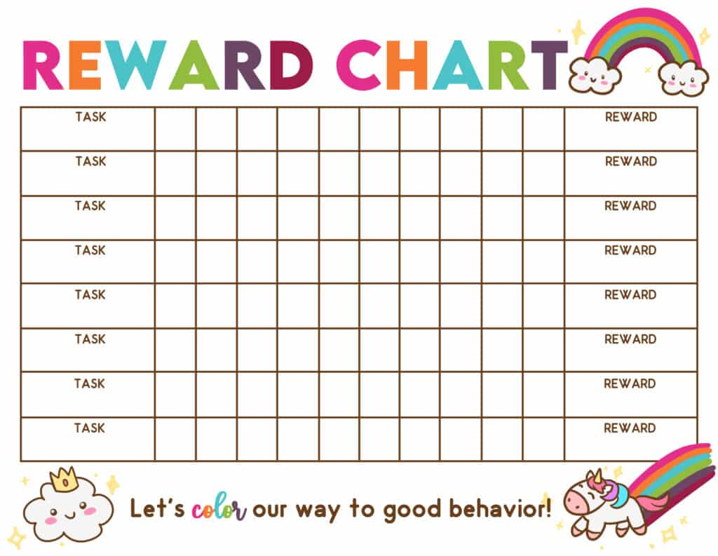 Do you think rainbows and unicorns will help motivate your kid to help around the house? If so, snag this free reward chart printable!