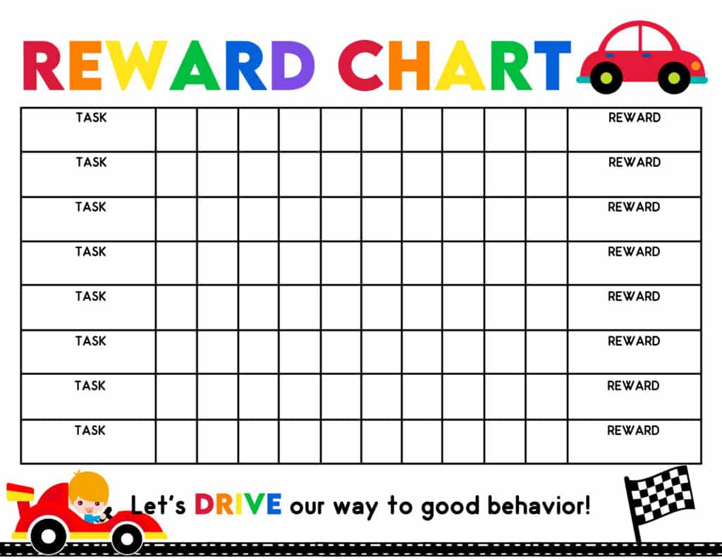 This free reward chart for kids printables is perfect for the race car fan in your life. Your child will have fun racing to his reward as he completes his chores and responsibilities.