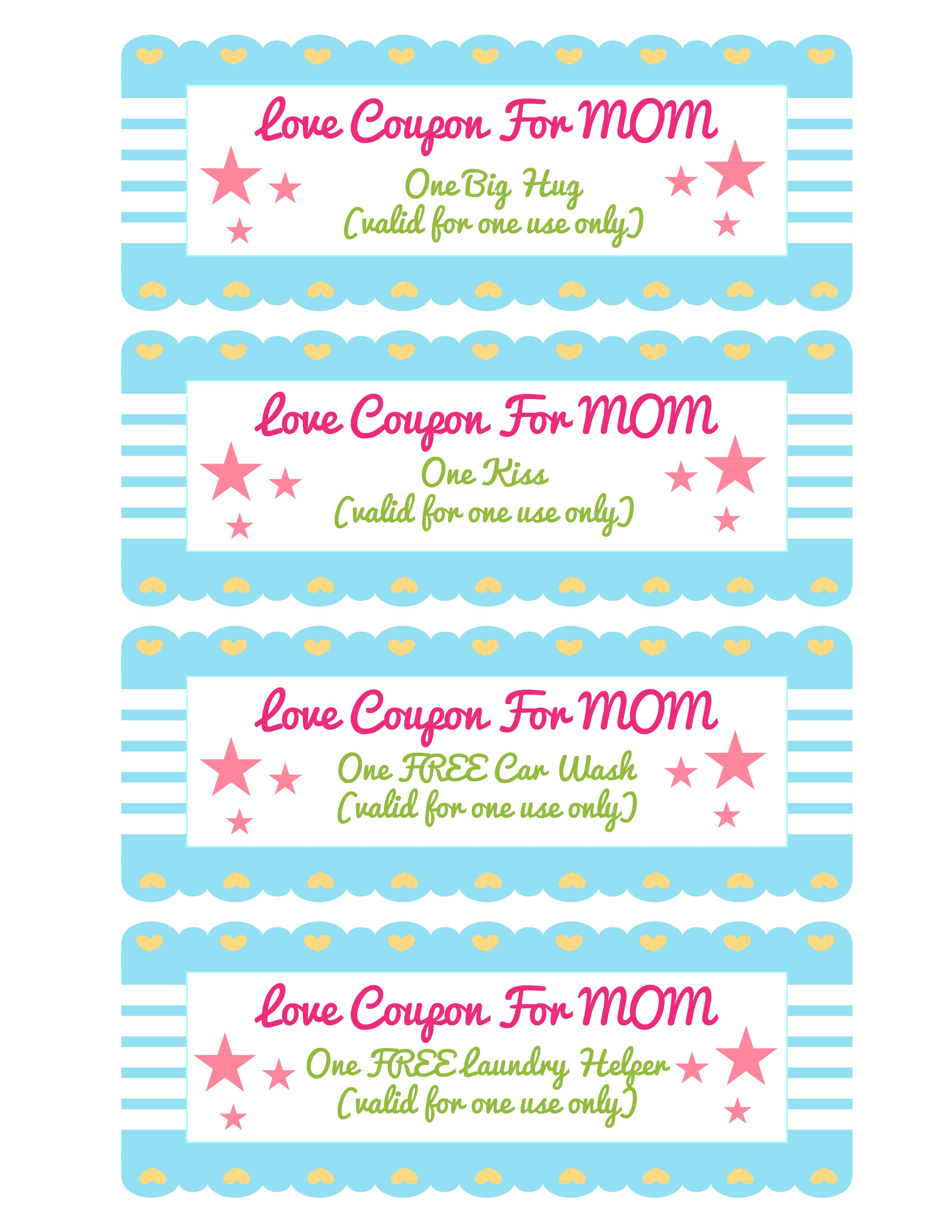 This homemade coupon book for mom template offers options that are perfect for really young children like hugs and kisses.