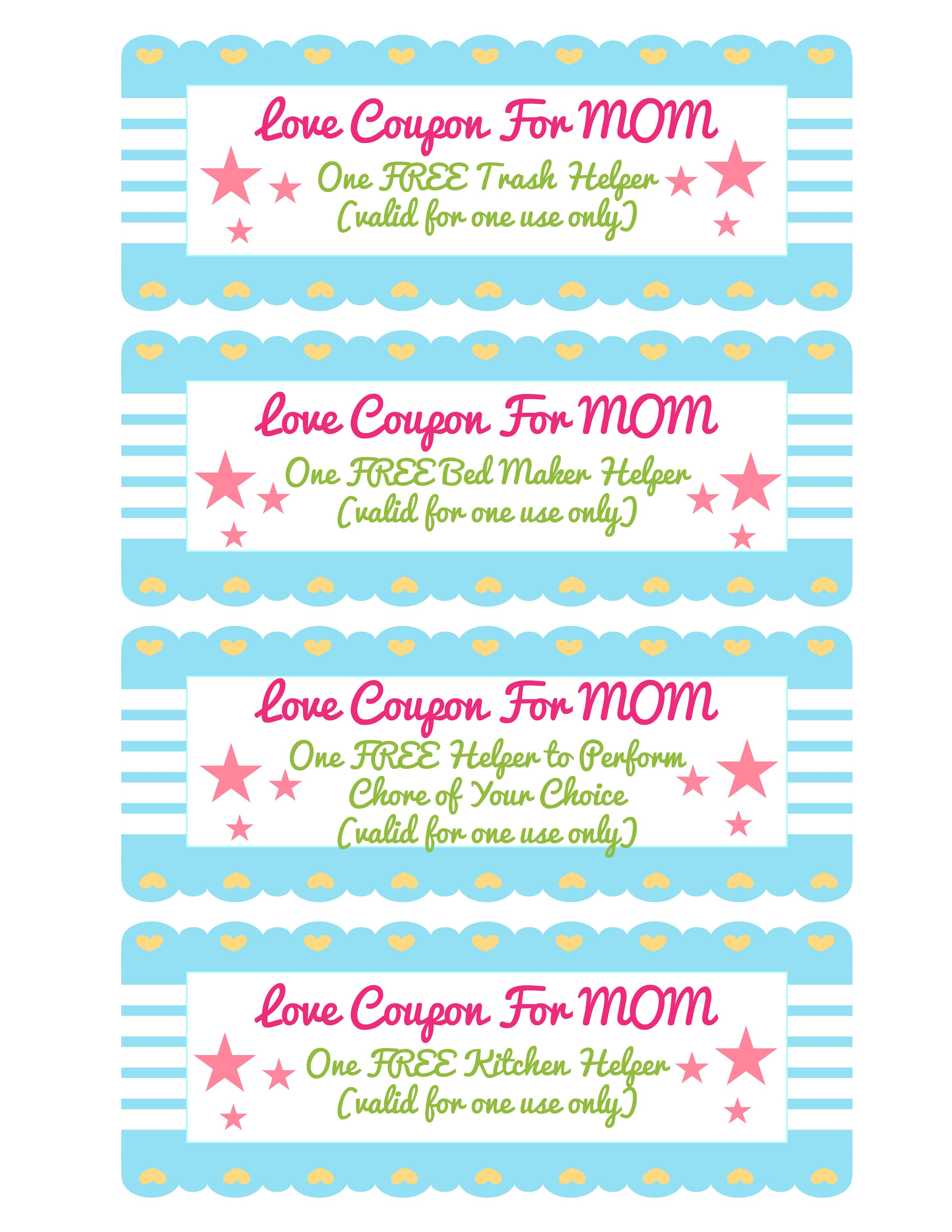 This homemade coupon book ideas for mom template is perfect when mom could use a little help around the house like with the trash or beds.