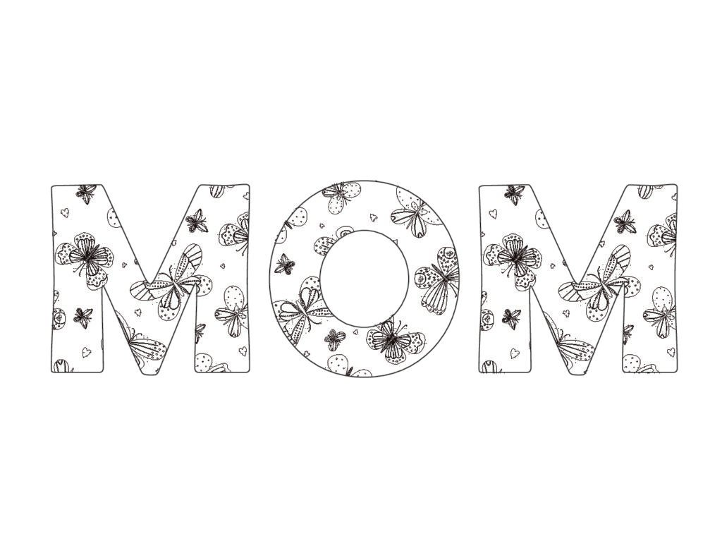 Turn this beautiful Mom in bubble letters butterfly design into I Love You Mom in bubble letters by adding a few other bubble letters to the mix.