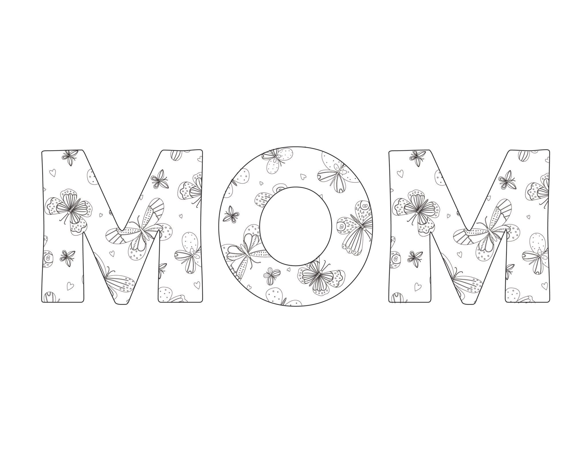 The Word Mom In Bubble Letters 3 Free Printables Laptrinhx News