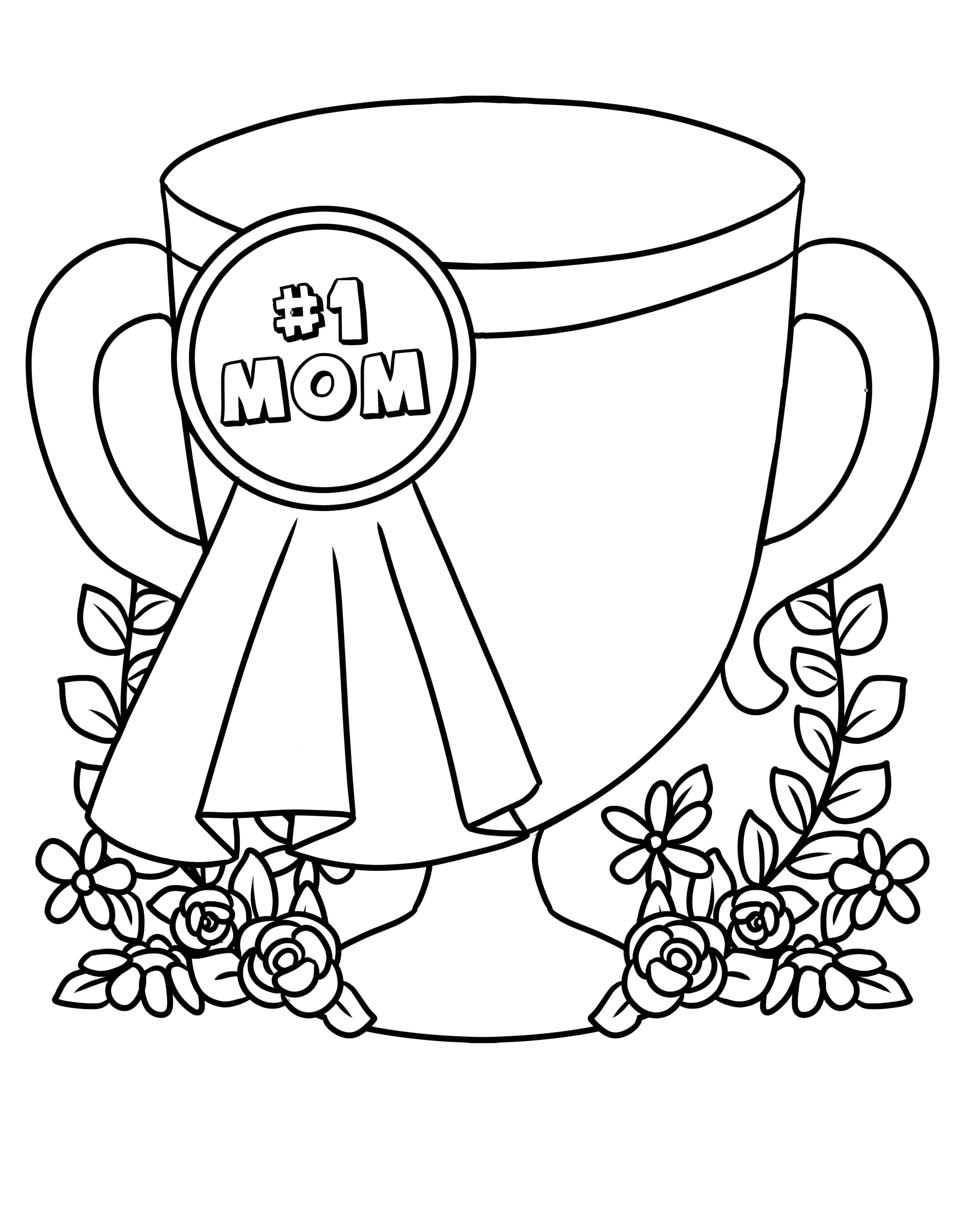 If your mom deserves a trophy, the second of the Mother's Day coloring pages free printables is perfect!