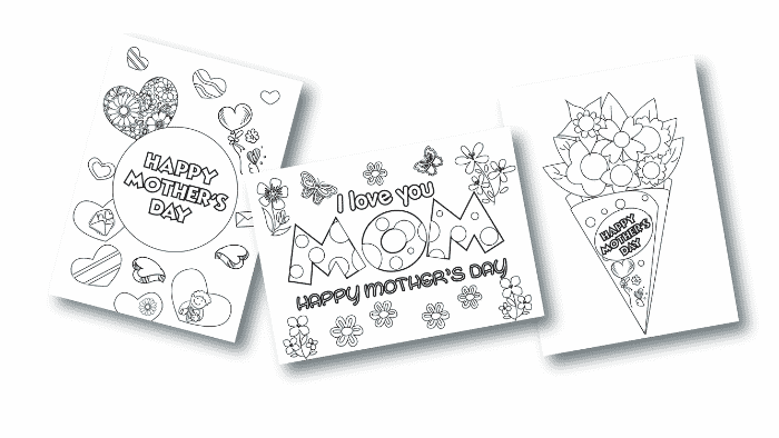 These three printable Mother's Day cards to color (PDF downloads) are a semi-homemade Mother's Day gift idea.