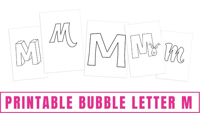 printable bubble letter M