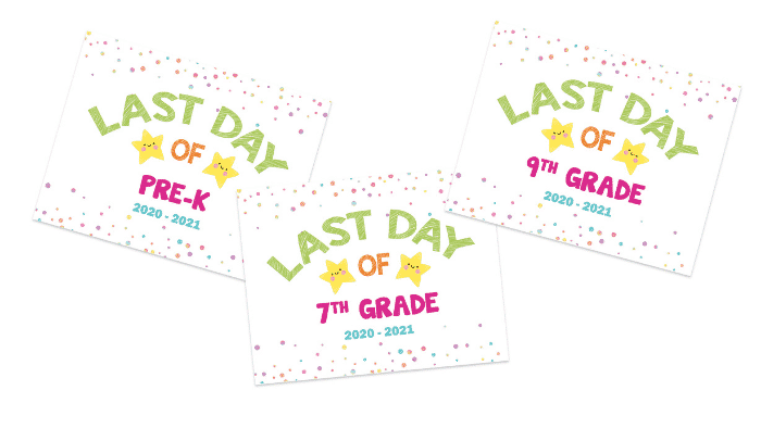 Download the matching printable first and last day of school signs to recognize your kid's educational accomplishments and see how much they have grown and changed over the school year.