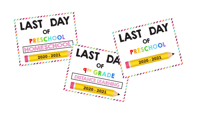 Whether you homeschool, your kids participated in distance learning, or they went to traditional in person school, use these printable last day of school signs to remember their educational achievements.