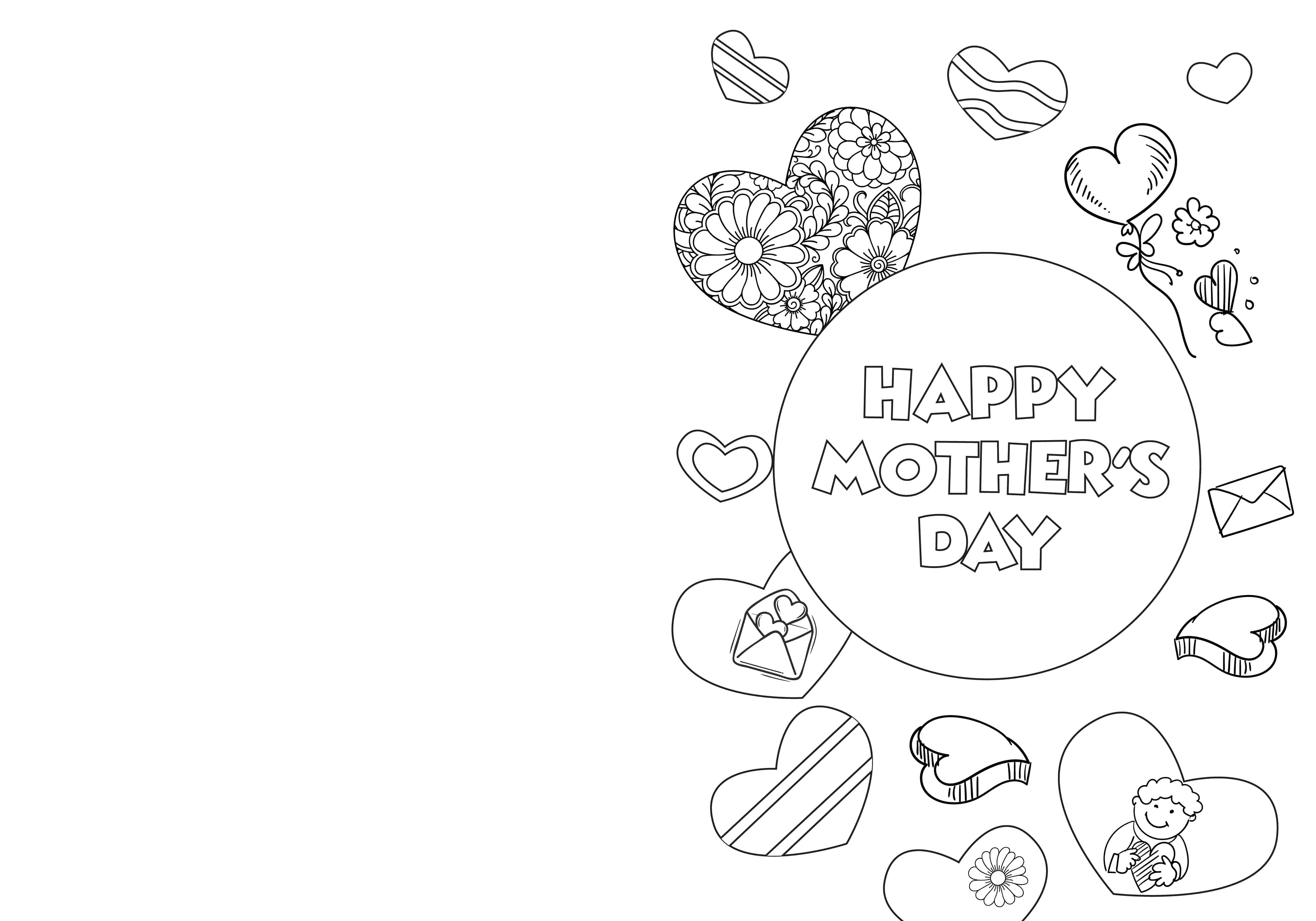 These cheery printable Mother's Day cards to color pdf downloads are filled with hearts that any mom is sure to love.