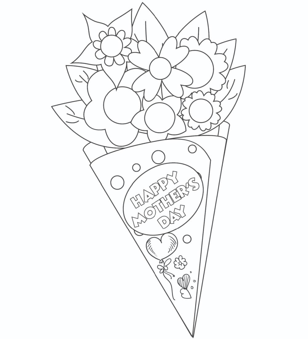 These printable Mother's Day cards to color of a gorgeous bouquet of flowers is a creative way to give mom flowers that she can enjoy forever.
