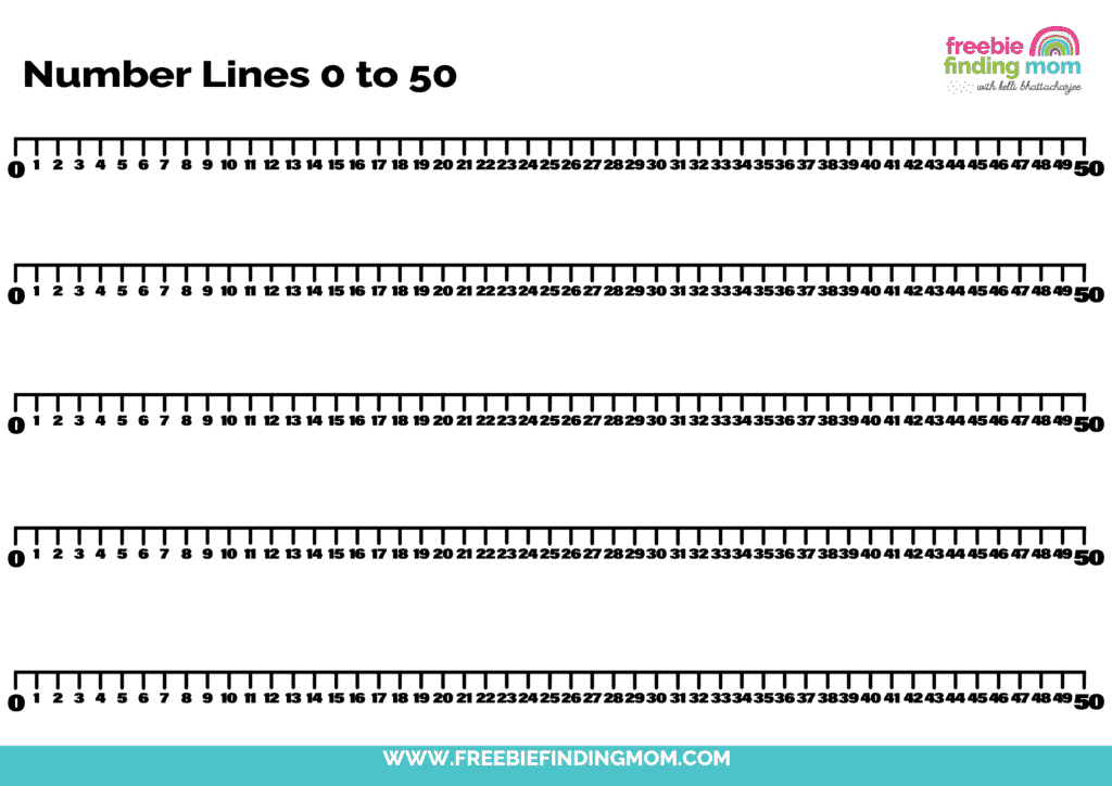 This printable works in 0-50 on a number line for bigger math problems.