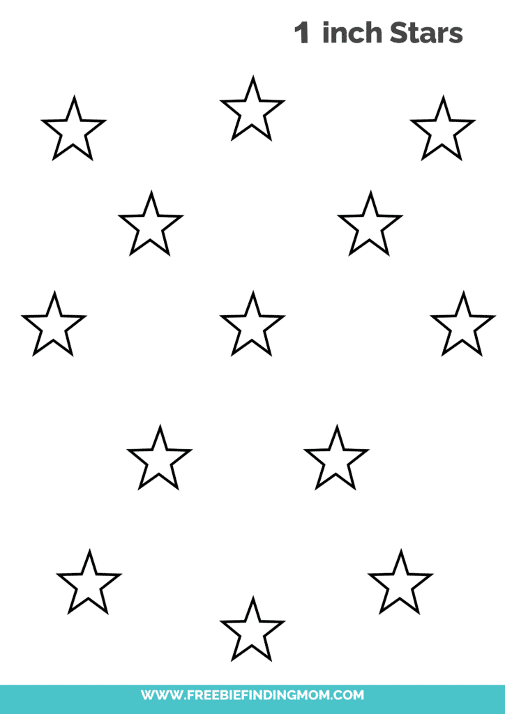 1 inch free printable small star template