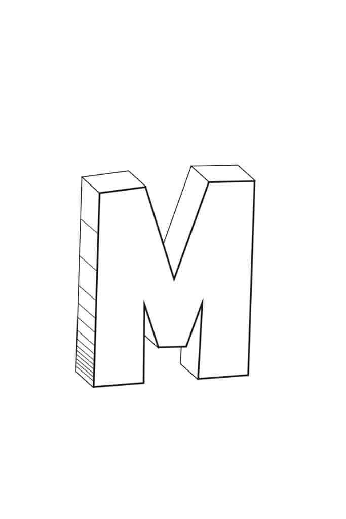 free printable cool bubble letter M