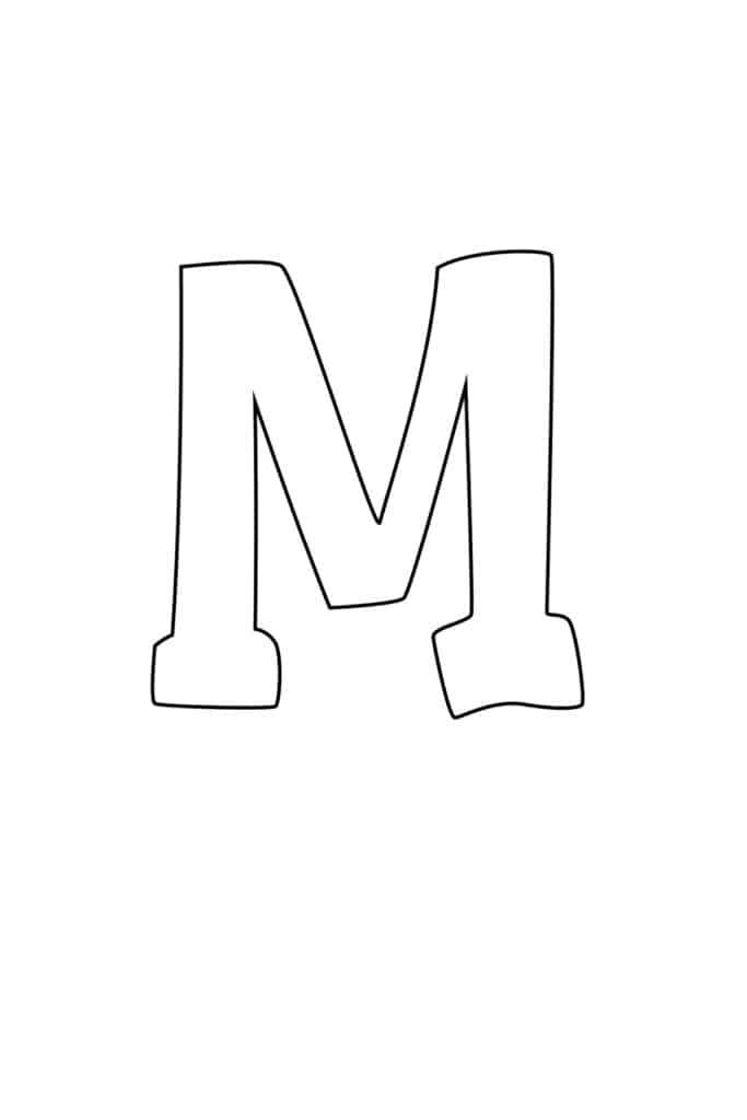 graffiti bubble letter M printable