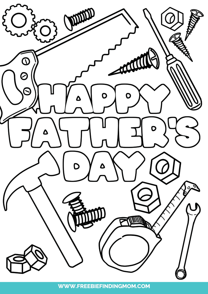These happy Father's Day coloring pages printable freebies, like this one featuring a variety of tools, are a heartfelt way to celebrate Dad!