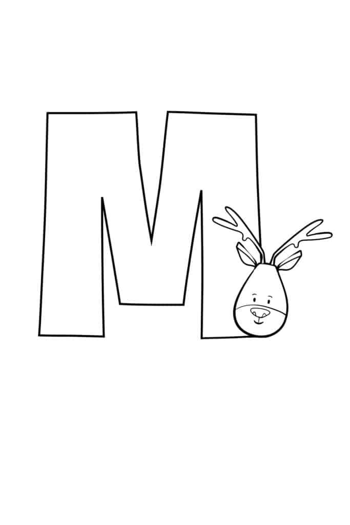 printable cute bubble letter M