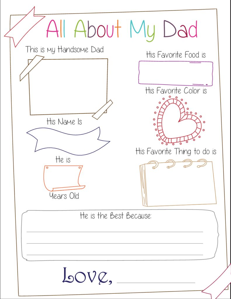 This All About My Dad free printable offers plenty of room for creativity; kids can write or draw their answers in the boxes.