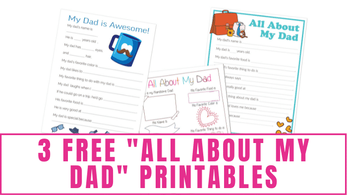 These free all about my dad printables are a fun DIY gift idea for Father's Day! Your dad will enjoy seeing your answers and how they change year after year so continue the tradition.