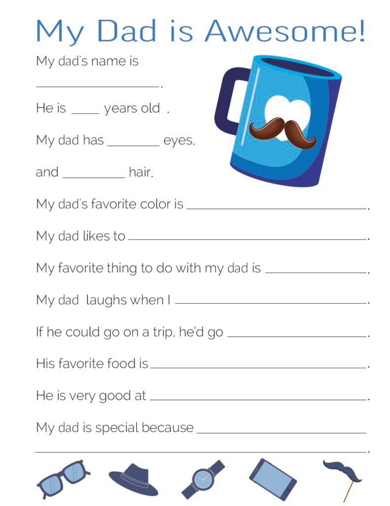 This free All About My Dad worksheet is fun and funny featuring a coffee mug with a heart and a mustache.