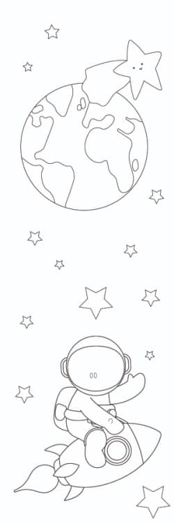 If your kid is ready for an outer space adventure, of the 3 free bookmarks to color choose these one with an astronaut.